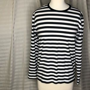 Run & Fly Black & White Striped Long Sleeve Top MD